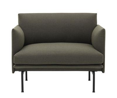 Outline Gepolsterter Sessel / Stoffbezug - Muuto - Kakigrün