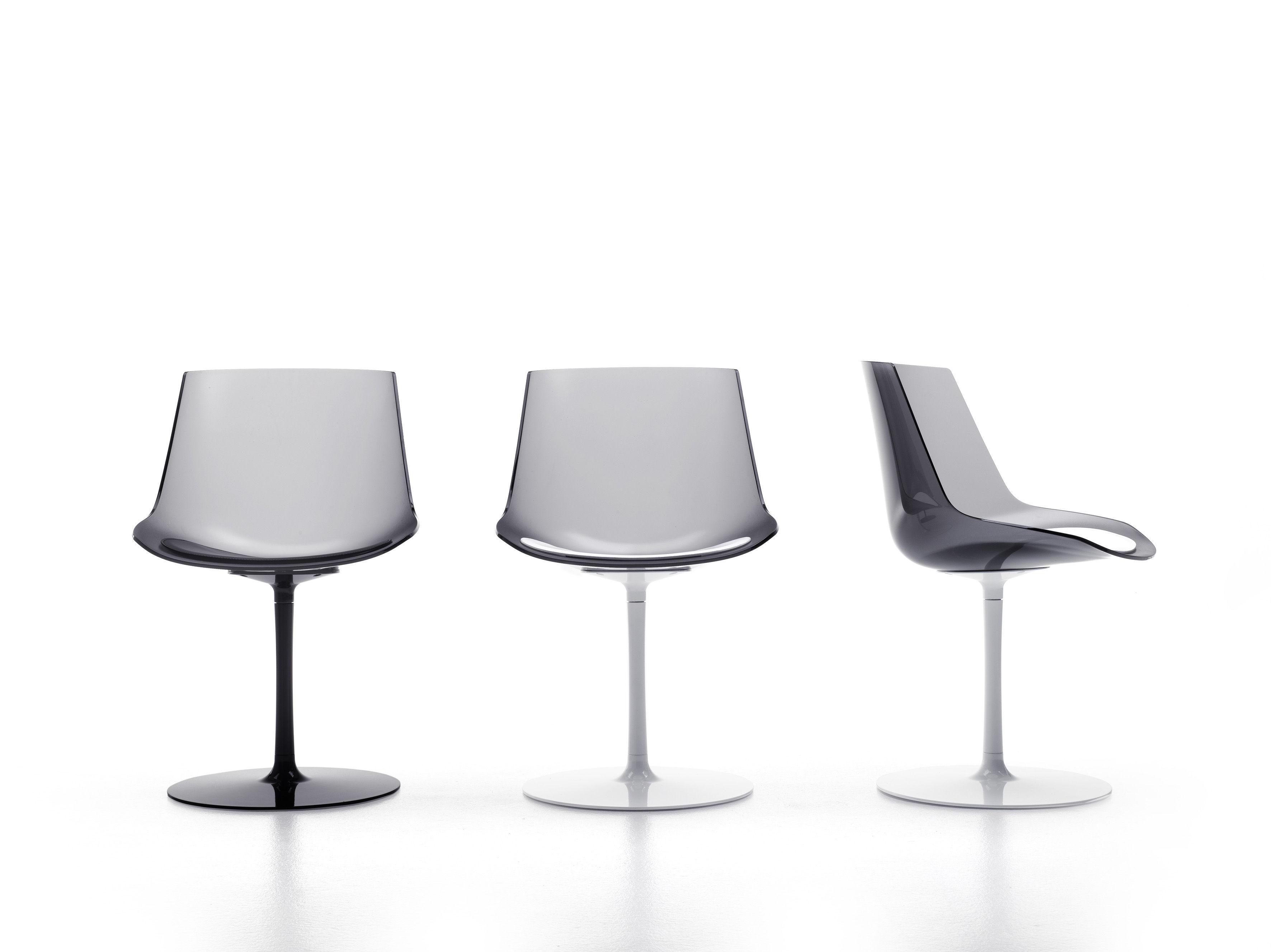 chaise pivotante flow pied central fum pied blanc mdf italia. Black Bedroom Furniture Sets. Home Design Ideas