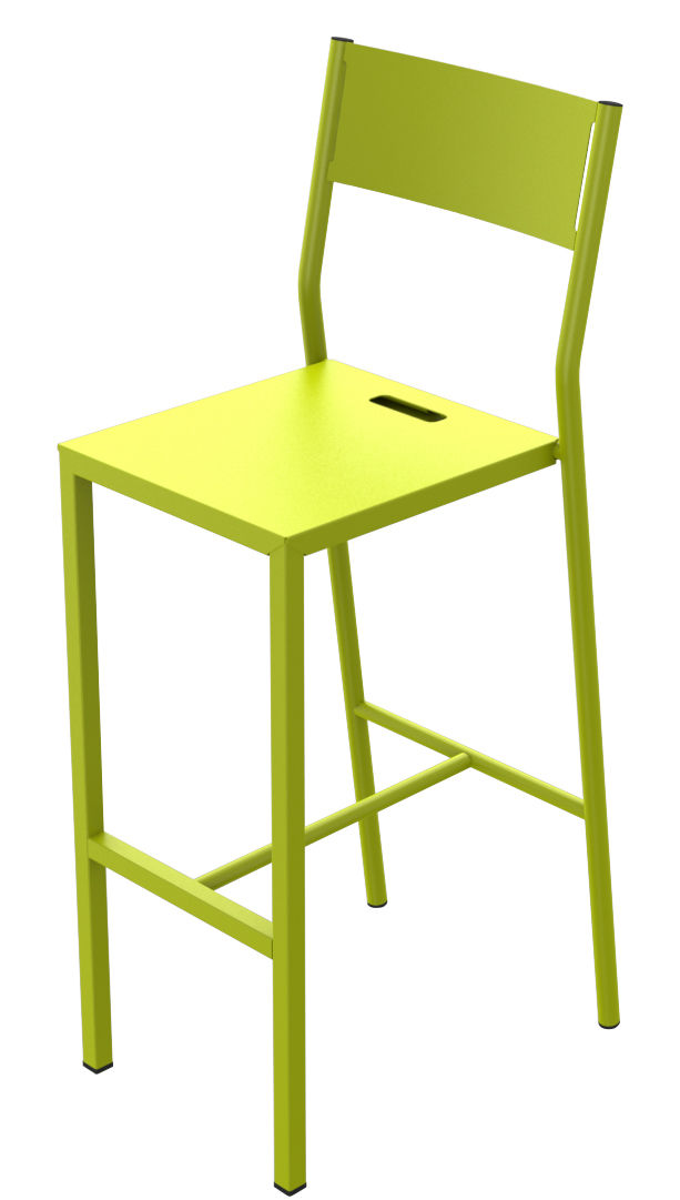 Chaise de bar up h 75 cm m tal vert anis mati re grise for Chaise 75 cm