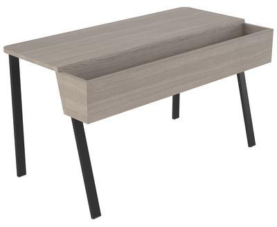 bureau wing avec bac de rangement jardini re l 90 cm gris pi tement noir ineke hans. Black Bedroom Furniture Sets. Home Design Ideas