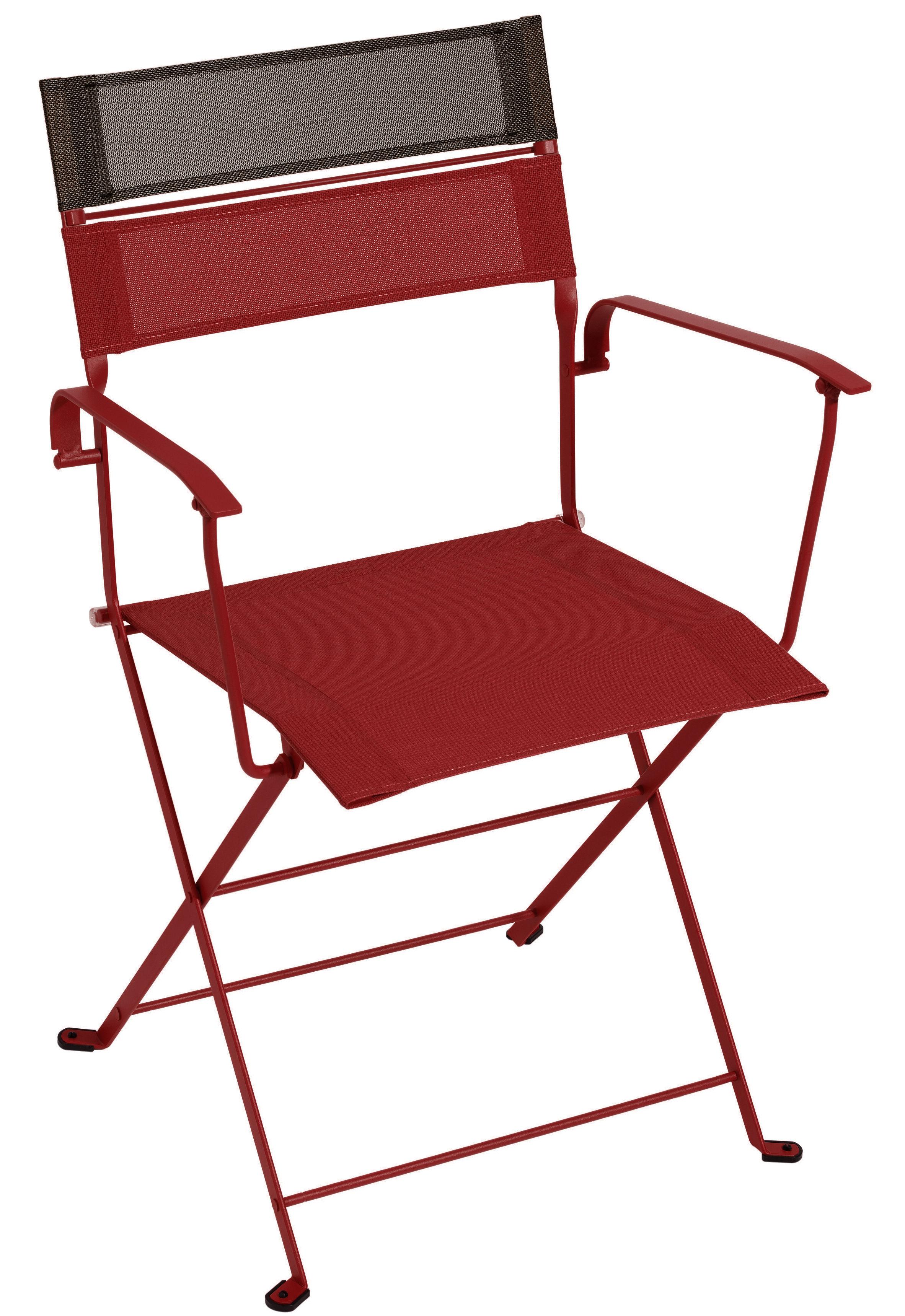 fauteuil pliant latitude toile structure piment bandeau rouille fermob. Black Bedroom Furniture Sets. Home Design Ideas