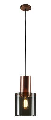 Luminaire - Suspensions - Suspension Walter 2 / Verre et cuivre - Original BTC - Verre anthracite / Cuivre satiné - Cuivre satiné, Verre