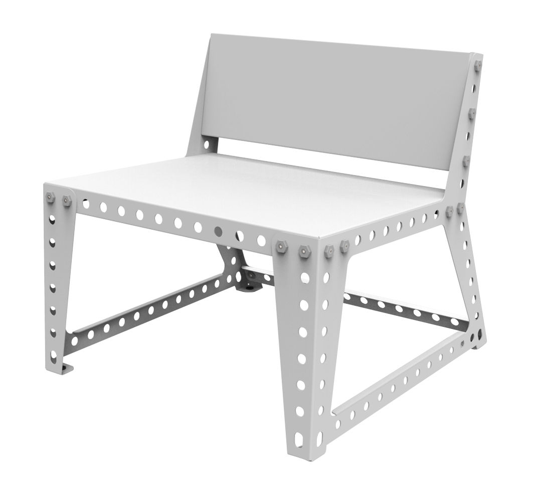 outdoor low armchair metal white by meccano home. Black Bedroom Furniture Sets. Home Design Ideas