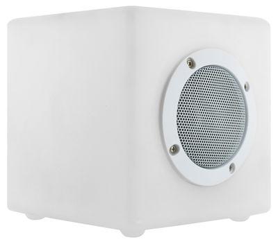 Luminaire - Luminaires d'extérieur - Pouf Cube Large OUTDOOR / 40 cm - Pouf & table - Light & Sounds - 40 cm / Blanc - Polyéthylène