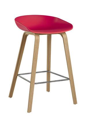 Tabouret de bar About a stool AAS 32 / H 65 cm - Plastique & pieds bois - Hay bois naturel,corail en matière plastique