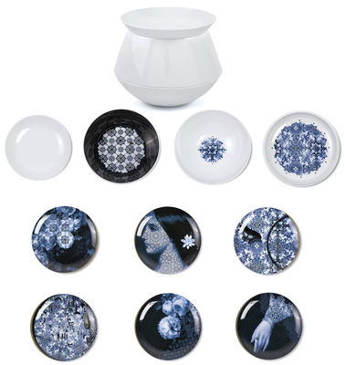 Tischkultur - Teller - Luso Tafelservice / stapelbar:  4 Schüsseln + 6 Dessertteller - Ibride - Außenseite weiß / Innenseite mit Mustern und Motiven verziert - Melamin