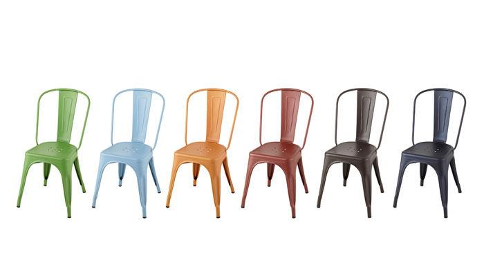 chaise empilable a acier couleur mate bleu pastel mat tolix made in design. Black Bedroom Furniture Sets. Home Design Ideas