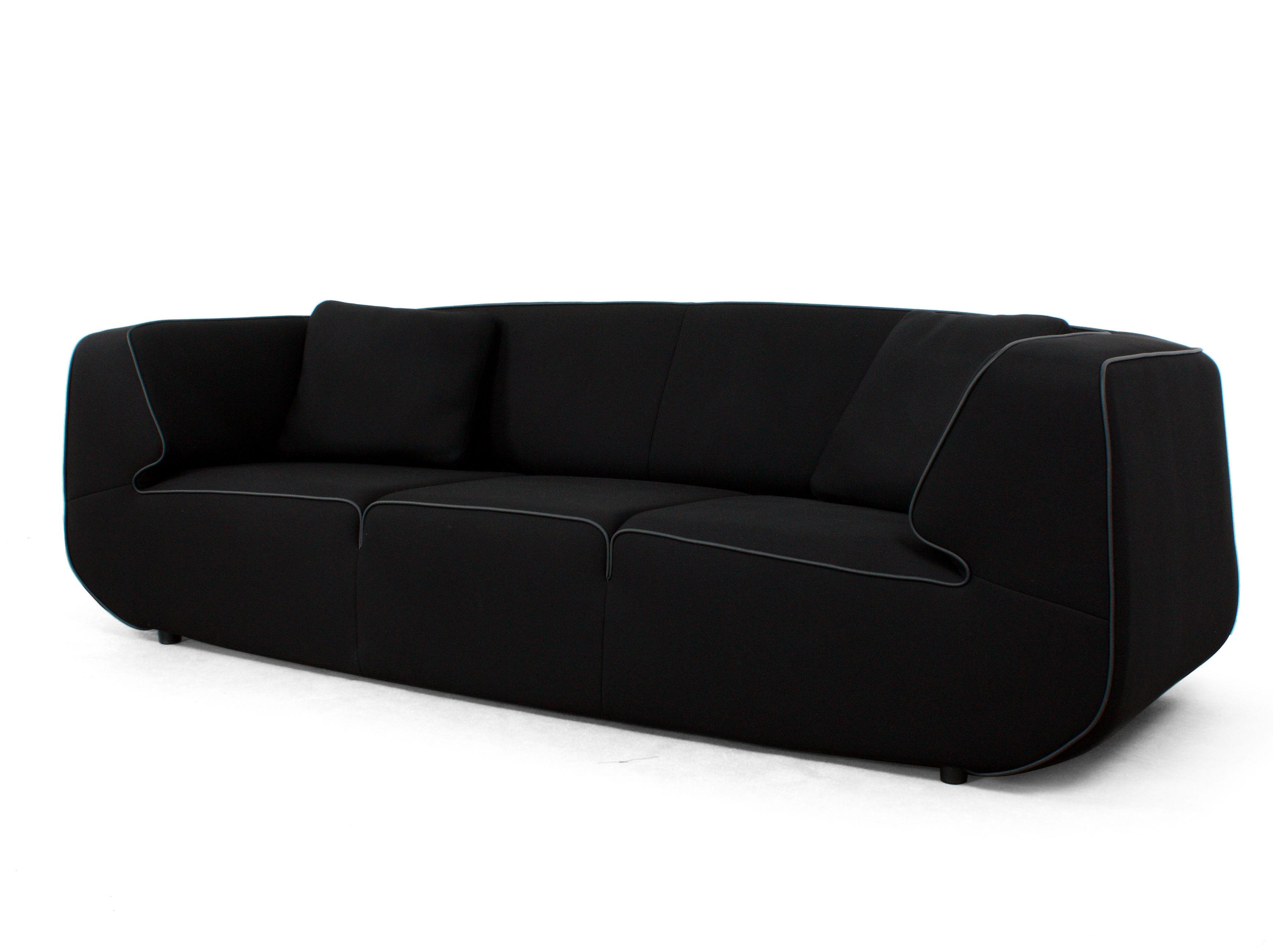canap droit bump by ora ito xl 3 places l 238 cm noir noir dunlopillo made in design. Black Bedroom Furniture Sets. Home Design Ideas