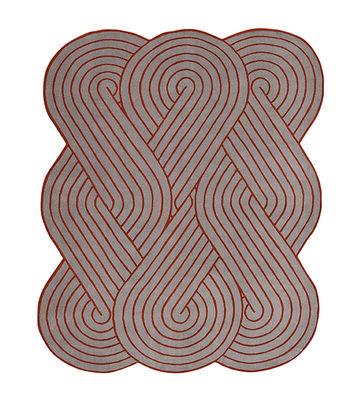 Déco - Tapis - Tapis Tresse / 190 x 150 cm - Chevalier édition - Rouge / Gris - Laine