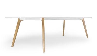 Table bevel bureau 200 x 100 cm pieds bois blanc pieds bois