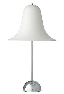 Foto Lampada da tavolo Pantop - / H 52 cm - Panton 1980 di Verpan - Bianco,Cromato - Metallo