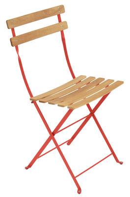 Chaise pliante Bistro / Métal & bois - Fermob bois,capucine en bois