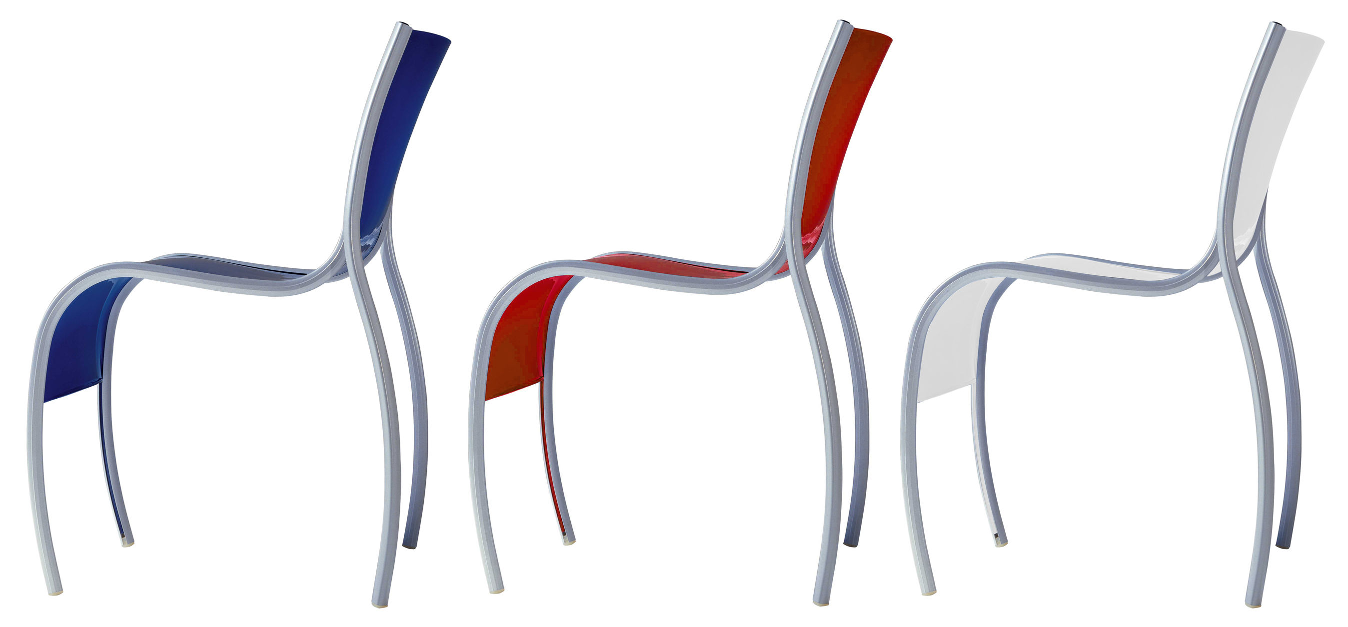 FPE Stacking chair Plastic & metal Opaline by Kartell