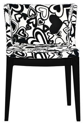 Mobilier - Chaises, fauteuils de salle à manger - Fauteuil rembourré Mademoiselle Moschino / Tissu & pieds noirs - Kartell - Coeurs noirs - Polycarbonate, Tissu