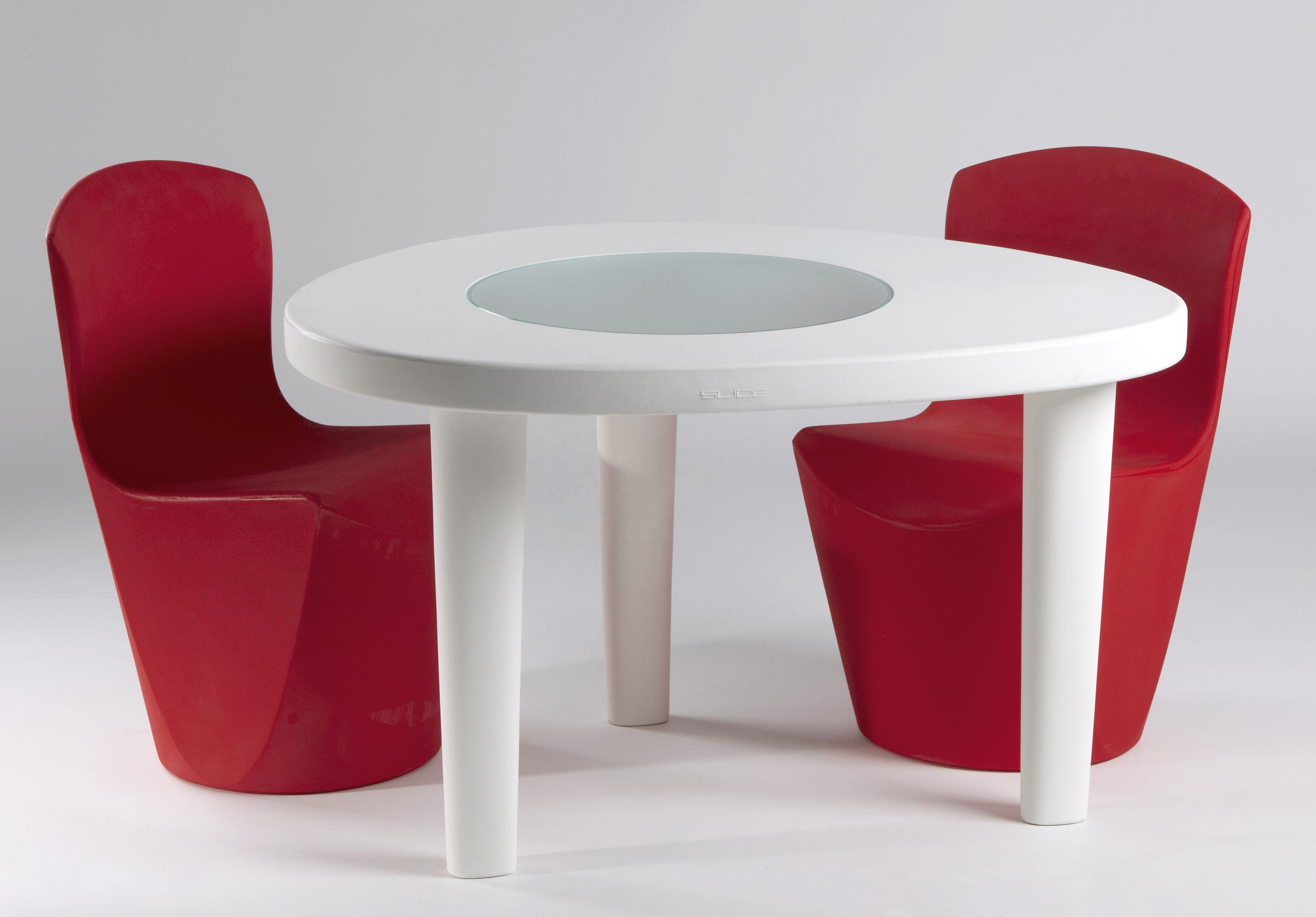 Table de jardin coccod 100 x 120 cm plastique verre - Table de jardin plastique blanc ...