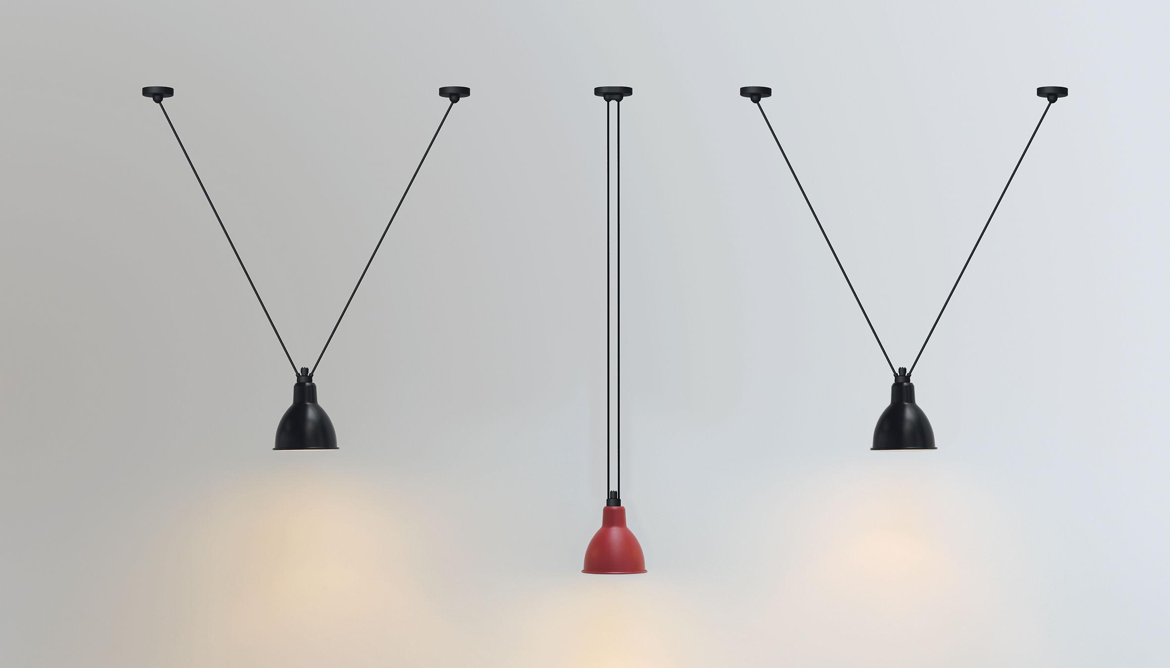 suspension acrobate n 323 lampe gras 1 abat jour rond m tal noir int rieur cuivre dcw. Black Bedroom Furniture Sets. Home Design Ideas