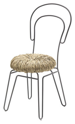 Chaise Donut / Paille & métal - Mogg gris,paille en métal