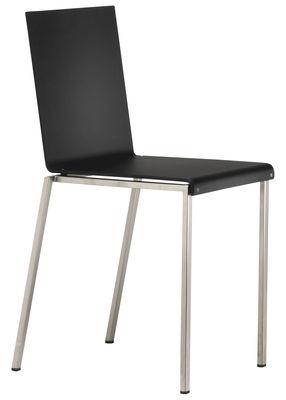 Mobilier - Chaises, fauteuils de salle à manger - Chaise Bianca / Résine mate & pieds métal - Zeus - Noir mat / Pieds acier - Acier sablé, Résine acrylique