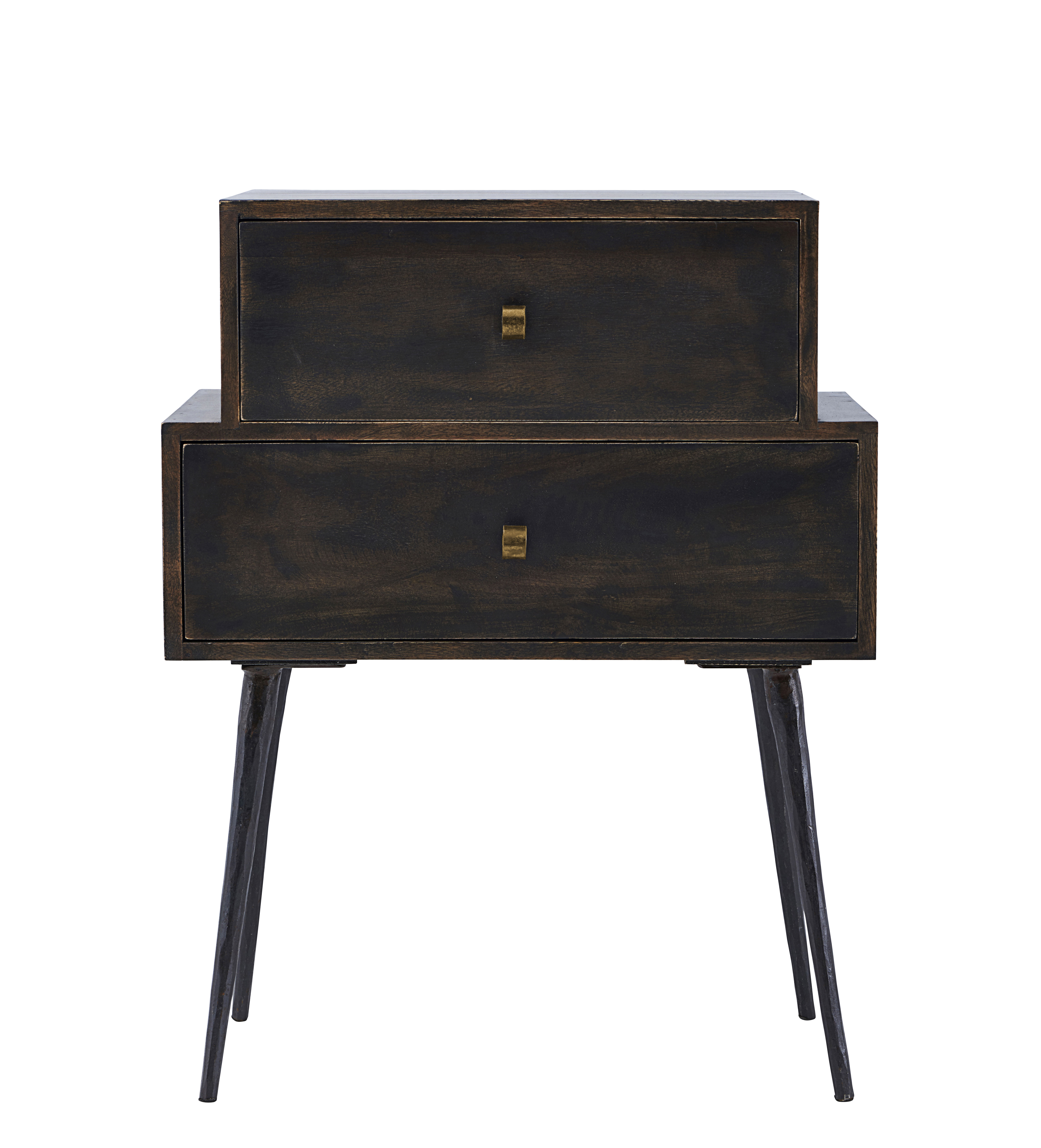 Club end table 2 drawers h 80 cm dark wood black for Table design 80 cm