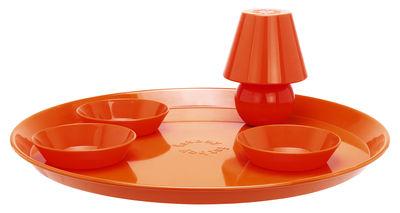 Plateau Snacklight Ø 55 cm / Avec lampe LED aimantée + 3 coupelles - Fatboy orange en métal