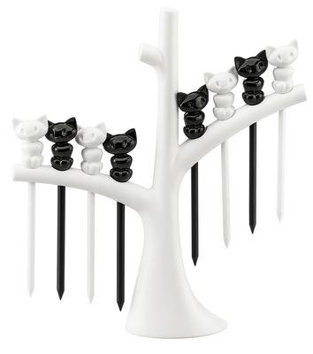Arts de la table - Bar, vin, apéritif - Piques pour amuse-gueules Miaou / Lot de 8 avec support-arbre - Koziol - Arbre blanc / Chats noirs et blancs - Plastique