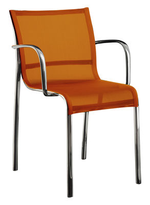 Furniture - Chairs - Paso Doble Stackable armchair - Fabric / Polished aluminium by Magis - Polished alu / Orange polyester-cotton - Cloth, Polished aluminium
