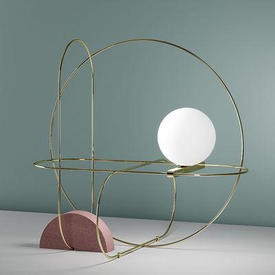 Luminaire - Lampes de table - Lampe de table Setareh circle / LED - L 48 x H 45 cm - Fontana Arte - Or, Rose, blanc - Ciment, Métal, Verre soufflé bouche