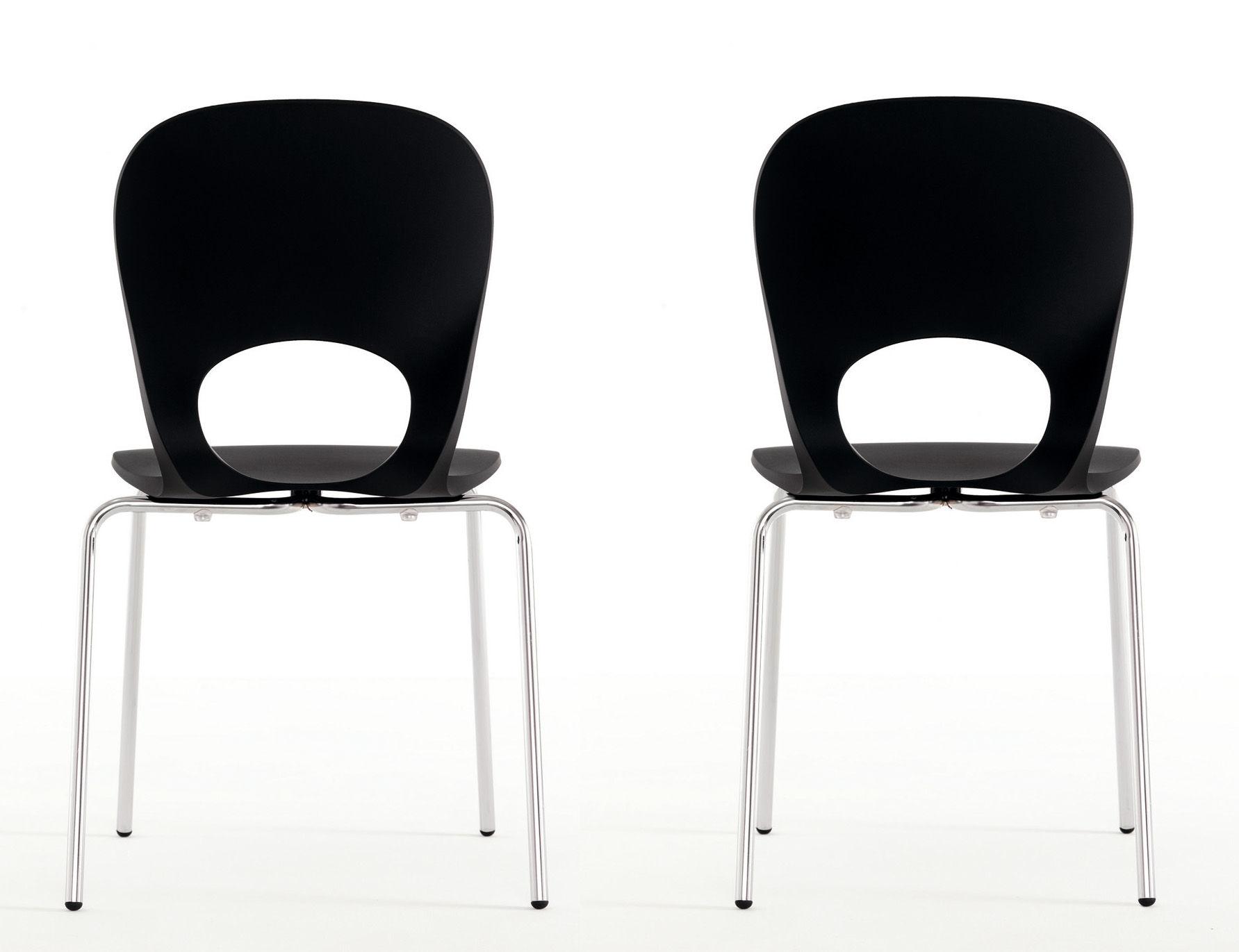chaise empilable pikaia plastique pieds m tal noir. Black Bedroom Furniture Sets. Home Design Ideas