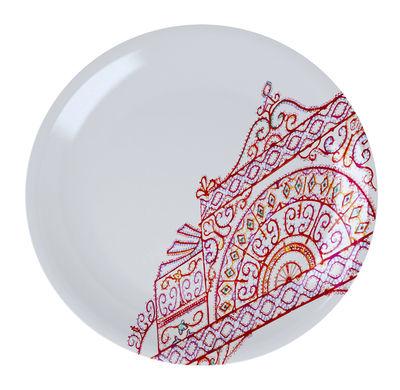 Assiette à dessert The White Snow Luminarie Ø 20 cm Porcelaine Driade rouge en céramique