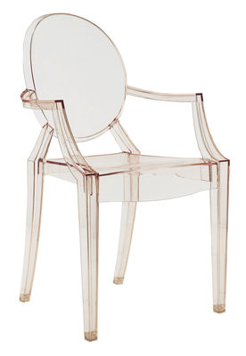 Fauteuil empilable Louis Ghost / Polycarbonate - Kartell orange transparent en matière plastique