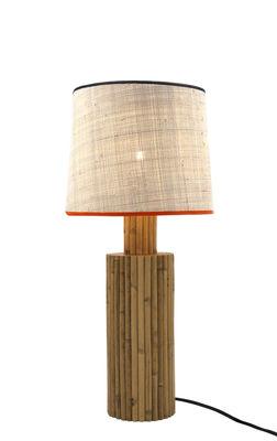 Riviera Tischleuchte / Rattan & Baumwolle - H 54 cm - Maison Sarah Lavoine - Weiß,Orange,Schwarz,Holz natur