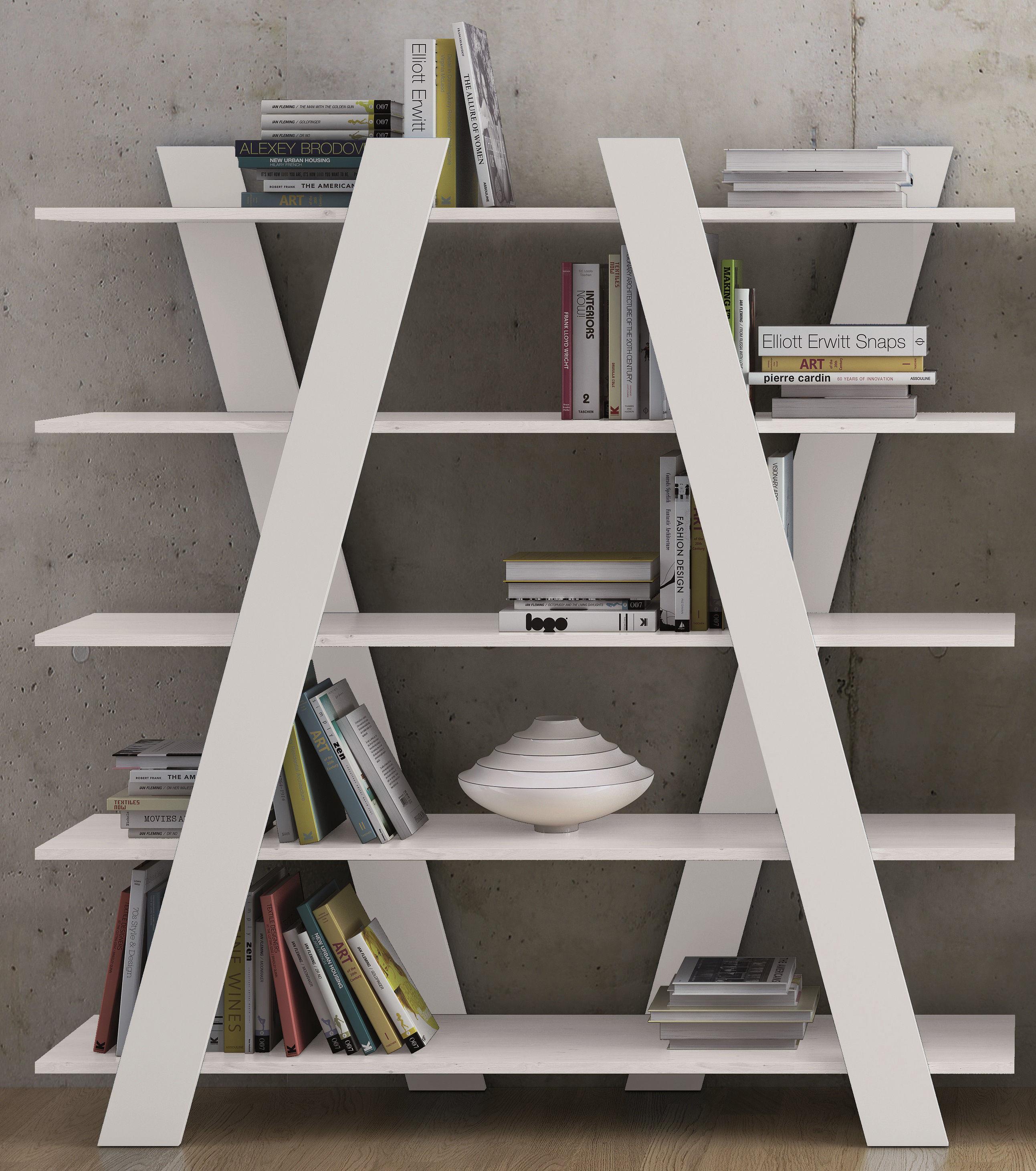 biblioth que cross l 156 x h 160 cm blanc mat pop up home. Black Bedroom Furniture Sets. Home Design Ideas