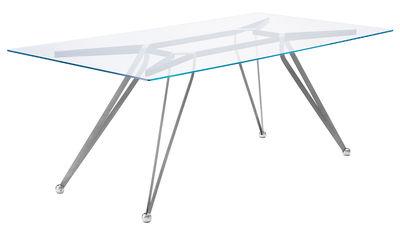 Anonimus Tisch / Glas - 200 x 100 cm - Zeus - Schwarz,Transparent,Edelstahl