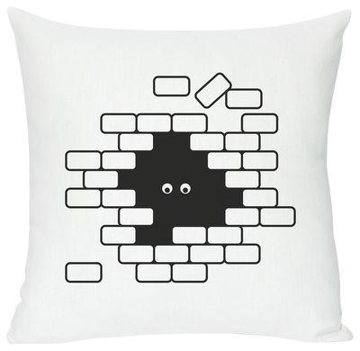 Coussin I see U U see me / 40 x 40 cm - Domestic blanc,noir en tissu