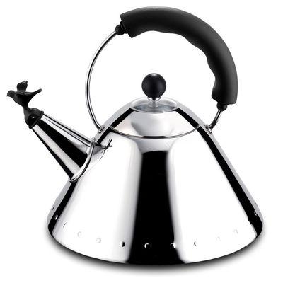 Bouilloire Oisillon - Alessi noir,acier brillant en métal