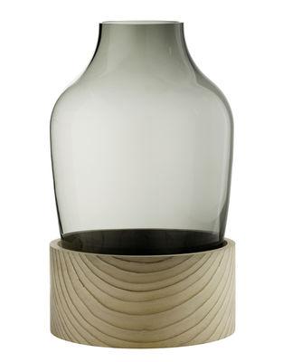 Déco - Vases - Vase Large / Verre soufflé bouche & cèdre - H 30 cm - Fritz Hansen - Large / Verre fumé & bois - Cèdre, Verre soufflé bouche