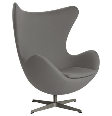 fauteuil pivotant egg chair tissu gabriele gris fonc. Black Bedroom Furniture Sets. Home Design Ideas