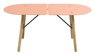 Tavolino Amaryllis - / 113 x 53 cm di Bibelo - Rosa,Grigio,Frassino naturale - Metallo
