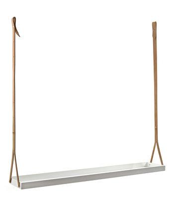 Mobilier - Etagères & bibliothèques - Etagère Bretelle à suspendre / Cuivre & cuir - L 115 cm - Serax - Blanc / Cuir naturel - Cuir, Cuivre laqué