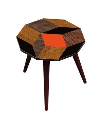 Table basse Penrose Fallwood SMALL / 28 x 29 x H 30 cm - BAZAR THERAPY orange,noir,bois en bois