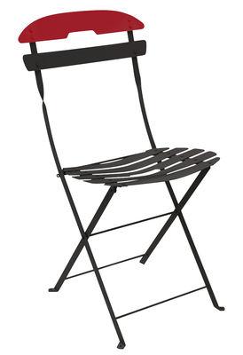 Mobilier - Chaises, fauteuils de salle à manger - Chaise pliante La Môme / Acier - Bicolore - Fermob - Réglisse / Lame Coquelicot - Acier peint