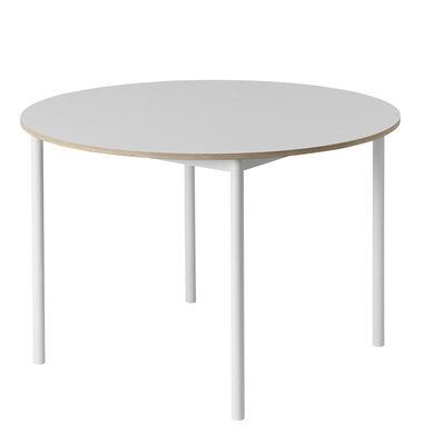 Mobilier - Tables - Table Base /Plateau bois - Ø 110 cm - Muuto - Blanc - Aluminium extrudé, Contreplaqué, Stratifié
