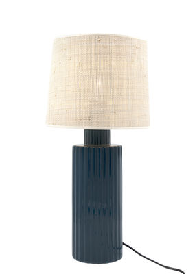 Portofino Tischleuchte / Bast & Keramik - H 54 cm - Maison Sarah Lavoine - Weiß,Blue Sarah