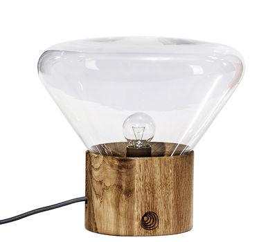 Luminaire - Lampes de table - Lampe de table Mini Muffin / H 27 cm - Brokis - Verre transparent - Chêne, Verre soufflé