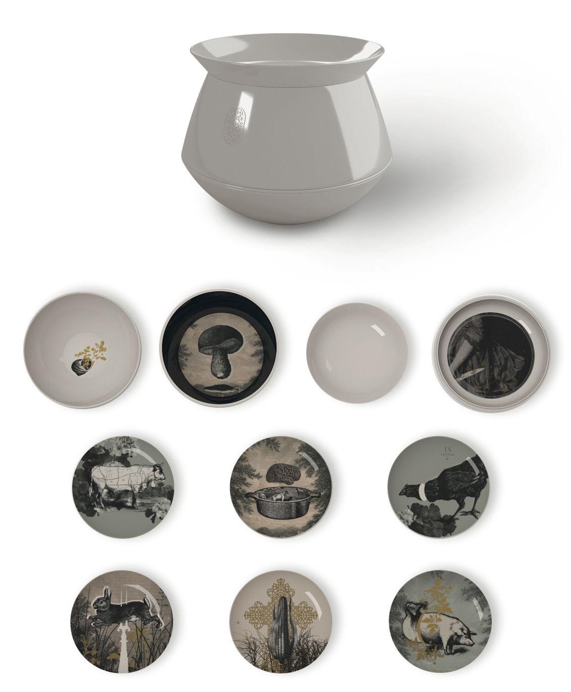 service de table luso d 39 antan 10 pi ces empilable ext rieur blanc int rieur motifs ibride. Black Bedroom Furniture Sets. Home Design Ideas