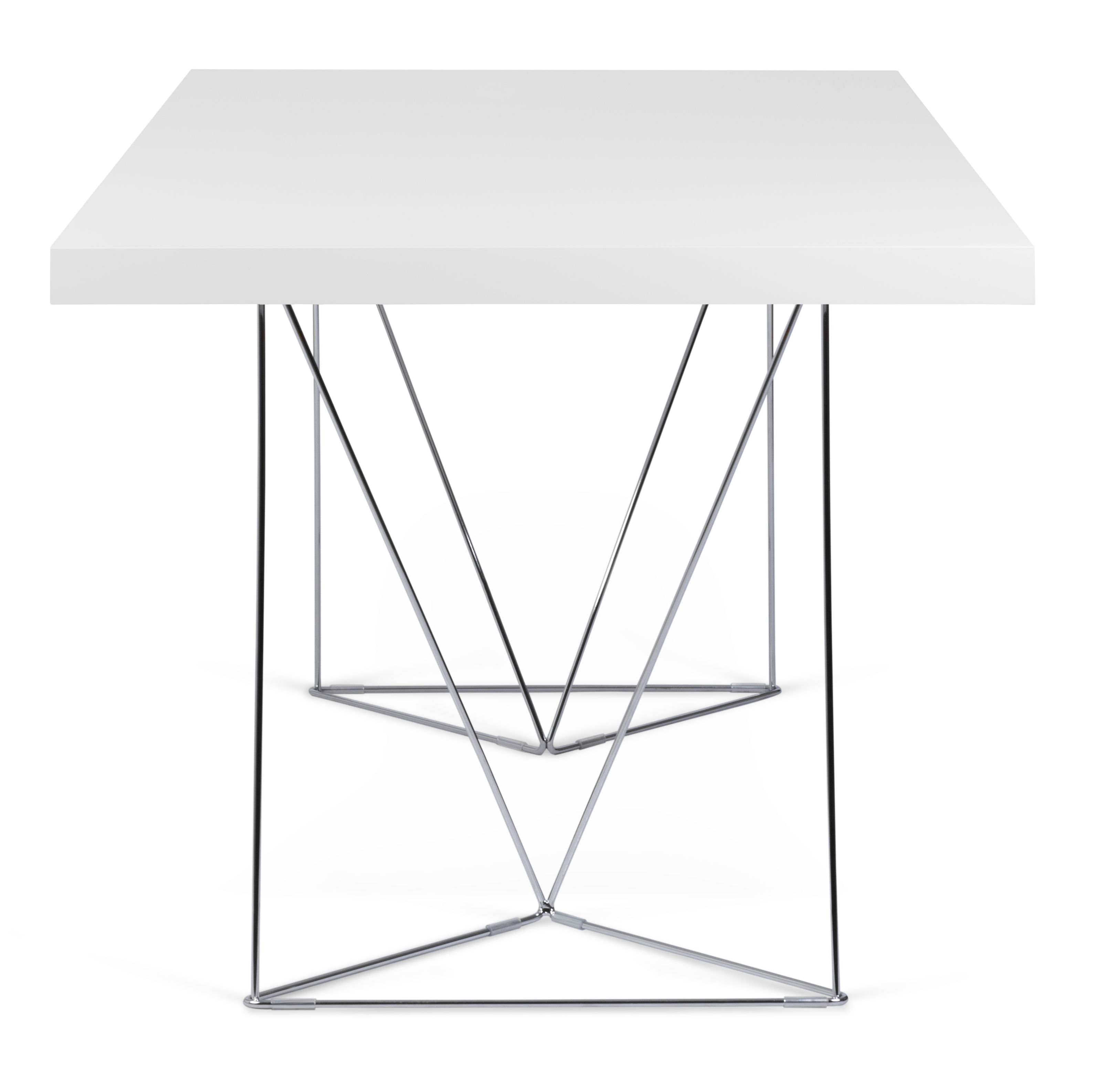 table trestle l 160 cm blanc pied chrom pop up home. Black Bedroom Furniture Sets. Home Design Ideas