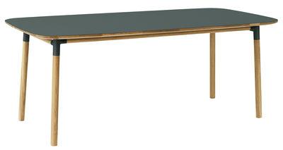 Form Tisch / 95 x 200 cm - Normann Copenhagen - Grün,Eiche