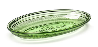 Plat Fish & Fish Ovale / 26 x 14 cm - Serax vert transparent en verre