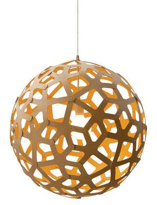 Luminaire - Suspensions - Suspension Coral / Ø 40 cm - Bicolore jaune & bois - David Trubridge - Jaune / Bois naturel - Pin