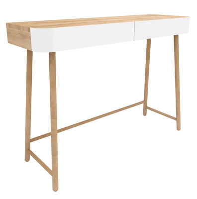 console hall 2 tiroirs blanc bois naturel universo positivo. Black Bedroom Furniture Sets. Home Design Ideas
